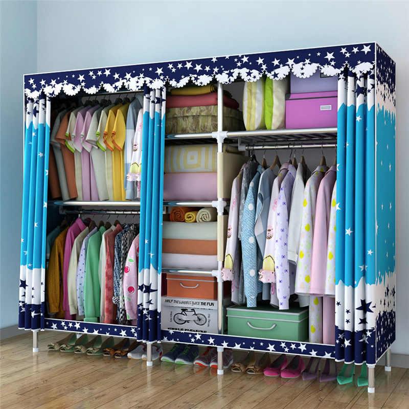 Armario de tela grande para colgar ropa, armario de tela, armario de tela, tubo de acero de 25 MM, armario de refuerzo de Metal