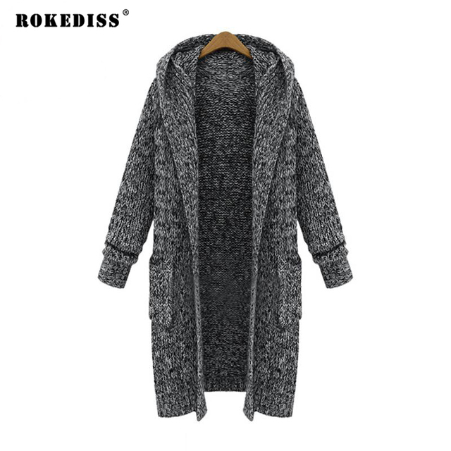 a18e84b180d XL-5XL Women Plus Size Sweater spring Fashion Open Stitch Hooded Long Tops  Casual Full Sleeve Two Pockets Knitting Sweater Coat