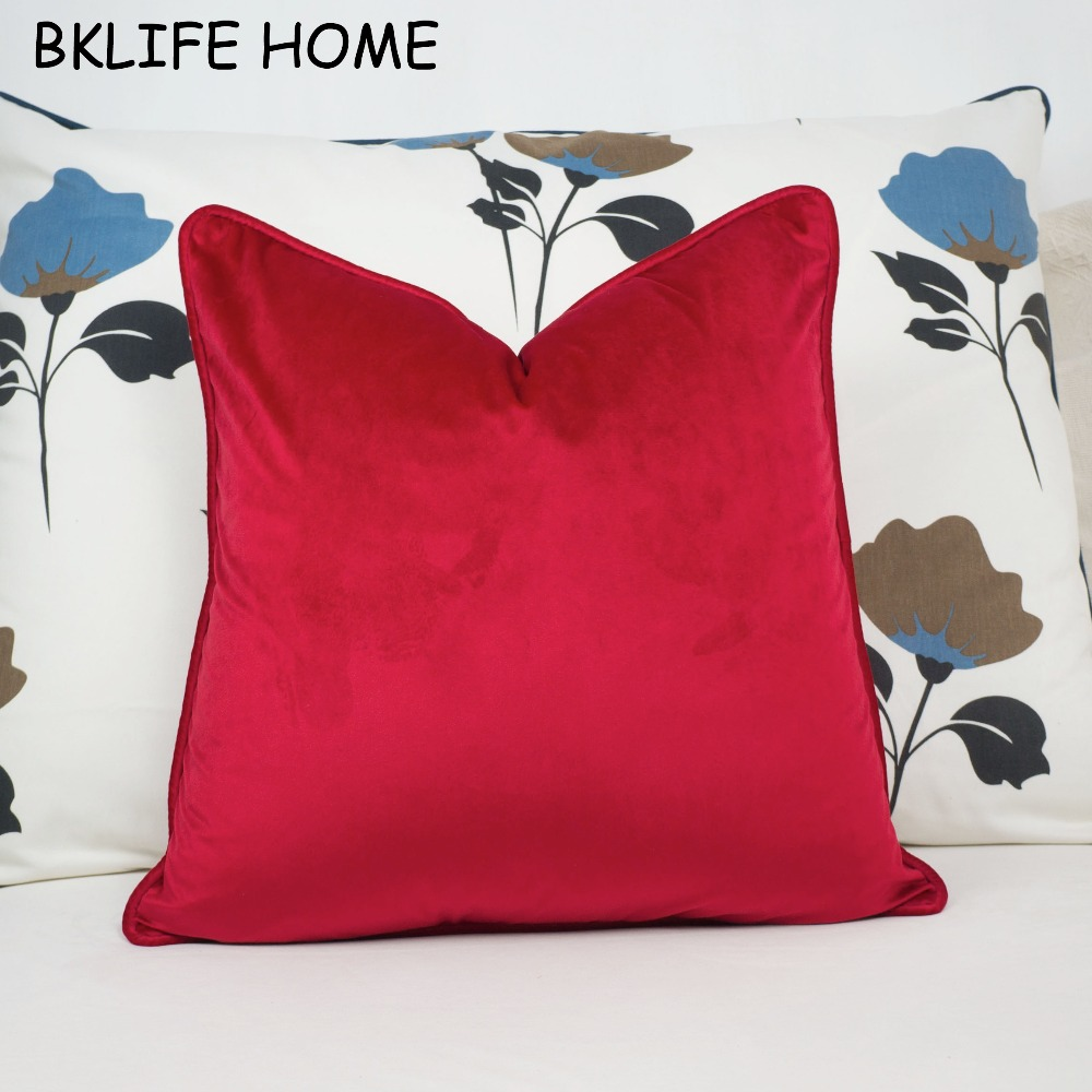 Piping Design Bright Red Velvet Cushion Cover Pillow Case Soft Pillow Cover No Balling-up Without Stuffing