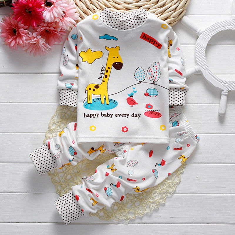 Baby Boys Girls Cartoon Pajamas Set Nightwear Captain Giraffe Rabbit Print Pyjamas Long Sleeve T shirt + Pants Kids Sleepwear 21 2016 christmas suit 0 3y newborn toddler kids girls boys reindeer homewear nightwear sleepwear pajamas set 2pcs