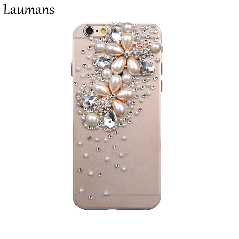 Laumans Top Quality Phone Cases For Apple Iphone 6 6s X Pearl Flower 3D Bling Rhinestone Crystal Back Phone cover 4s 5s 7 8 plus