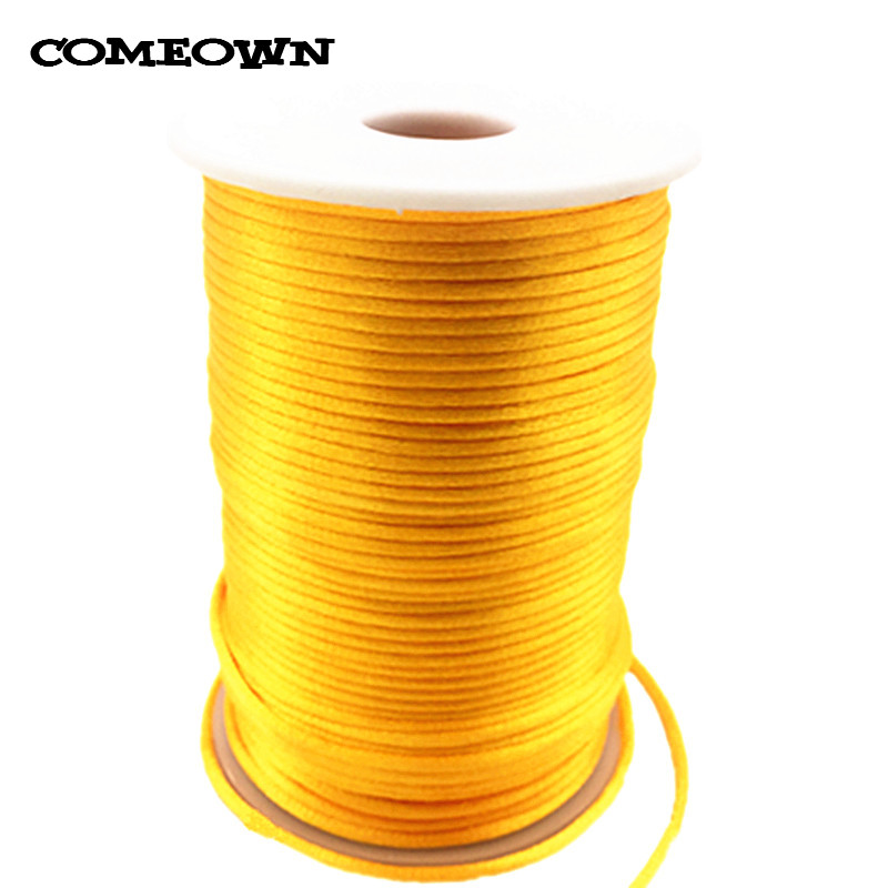 COMEOWN Golden Yellow 2MM 100 Yards/Roll Satin Rattail Nylon Cord/Macrame Rope Shamballa Bracelet Beading Chinese Knot Cords pearl beading knot front ruffle top