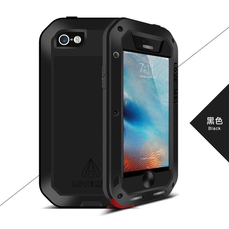 imágenes para Para el iphone Caso 5S, Original Amor Mei Metal De Aluminio Caso de Gran Alcance Para el iphone SE/5SE/5S Whockproof cubierta w/Vidrio Templado