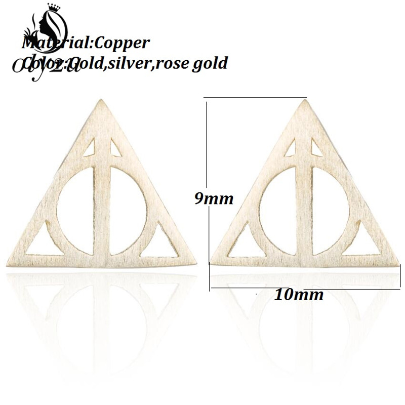 oly2u Halloween Earring Deathly Hallows Earrings For Women Gold Small Hogwarts Jewelry Gifts