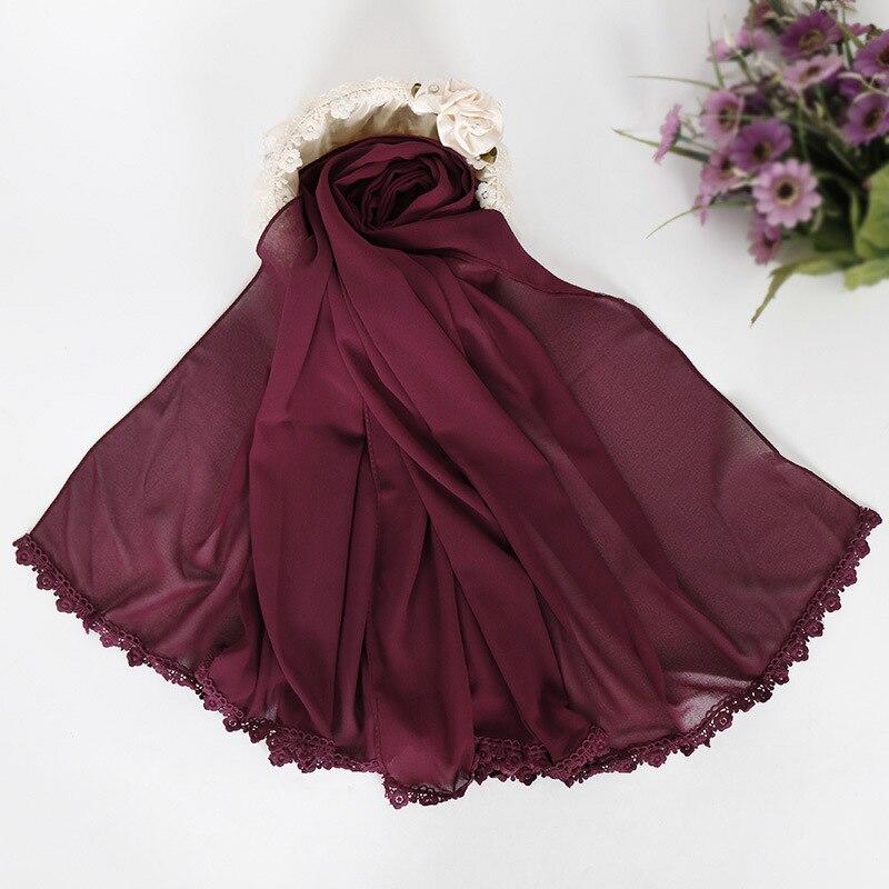 20 Colors 180*75Cm Plain Solid Lace Chain Instant Bubble Chiffon Shawl Ladies Fashion   Scarfs   and   Wraps   Hijab Muslim Bonnet Snood