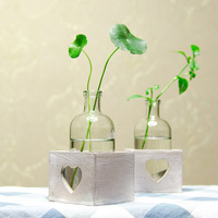 European style decorative wooden furniture stand water culture container glass vase wooden handicraft household decoration