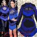 2017 New Fall Embroidery Beaded Fringe Dress Sexy Celebrity Runway Winter Handmade Embroidery Dress Baroque VintageTassels Dress