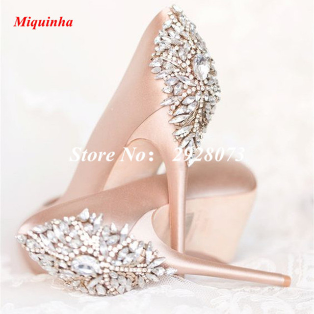 0a5bf95c2e5 Blush Wedding Peep Toe Satins Shoes Woman Jeweled Embellished High Heels  Women Pumps Bridal Shoes Platforms Womens Shoes
