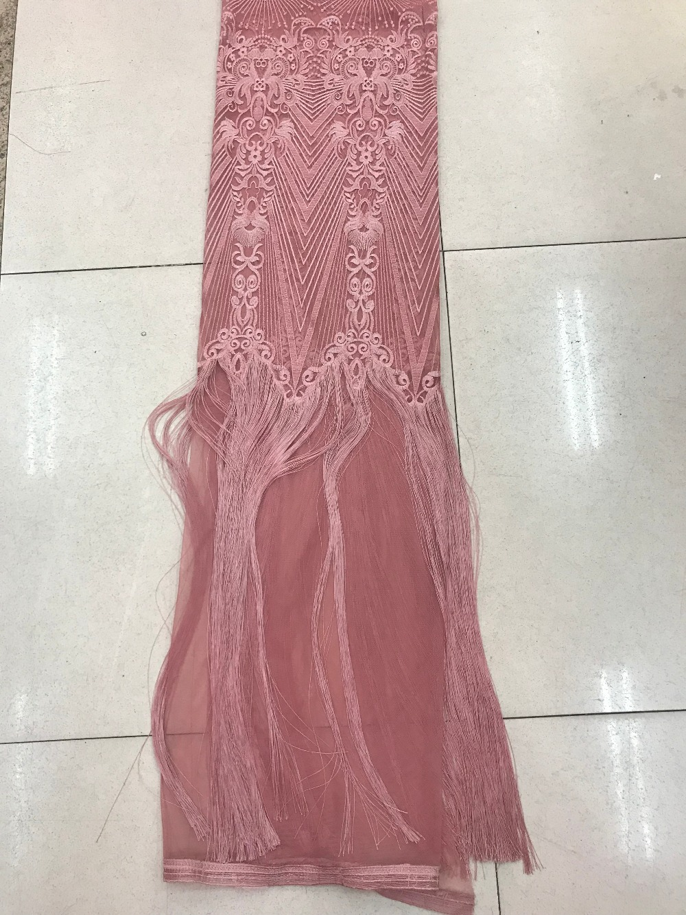 9 colors fashion french net fabric with fringel tessel CiCi 7206 elegant Embroidered tulle fabric for