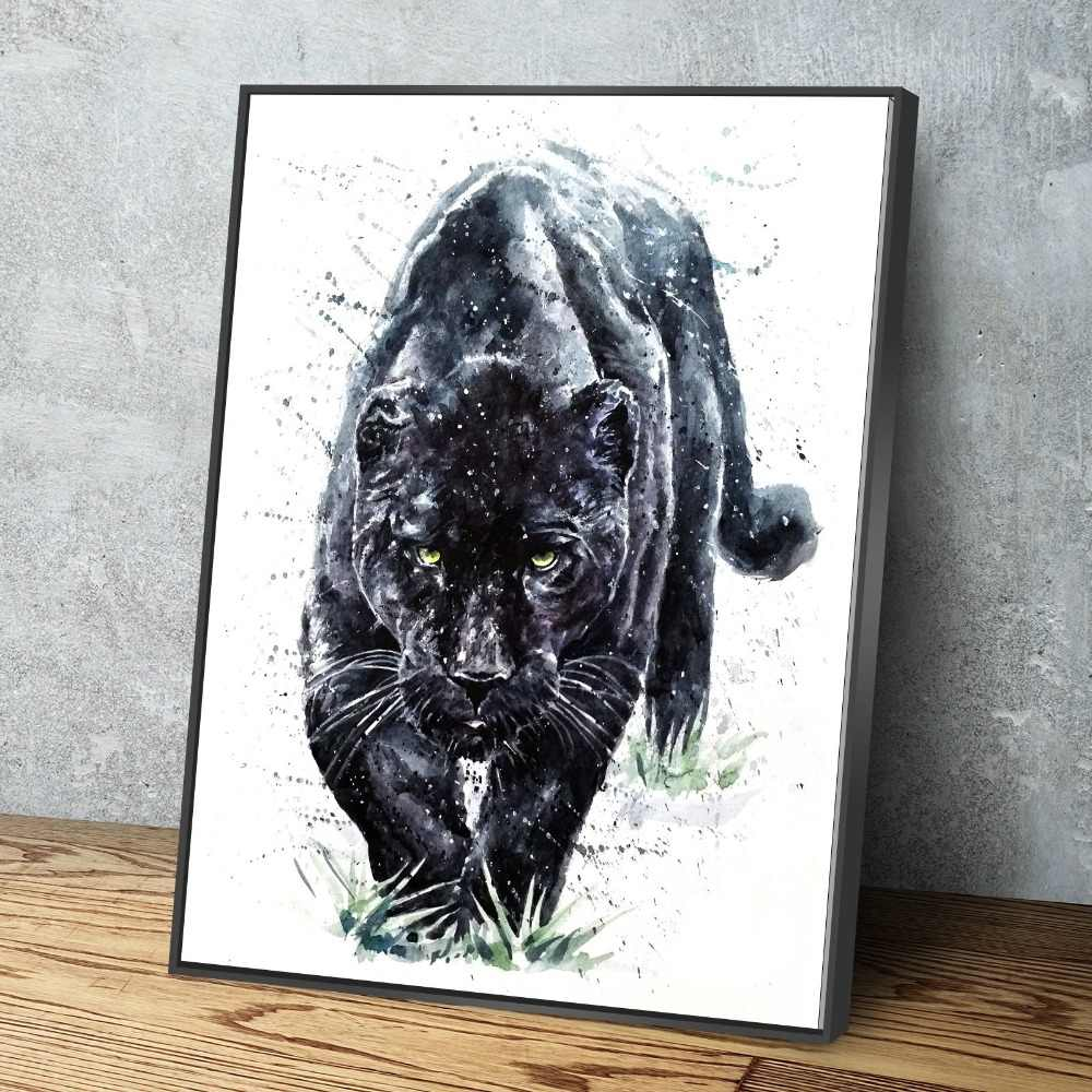 Nordic Canvas Painting Black Jaguar Animal Poster Painting Canvas Wall Art Picture Home Decoration Living Room Canvas Painting