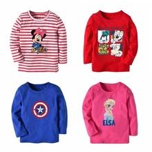 1d51b25a095 2018 Boys T-shirt Kids Tees Baby Child Girl Cartoon Spring Children Tee  Long Sleeve Stitching Cotton Trucks Striped Autumn Shirt
