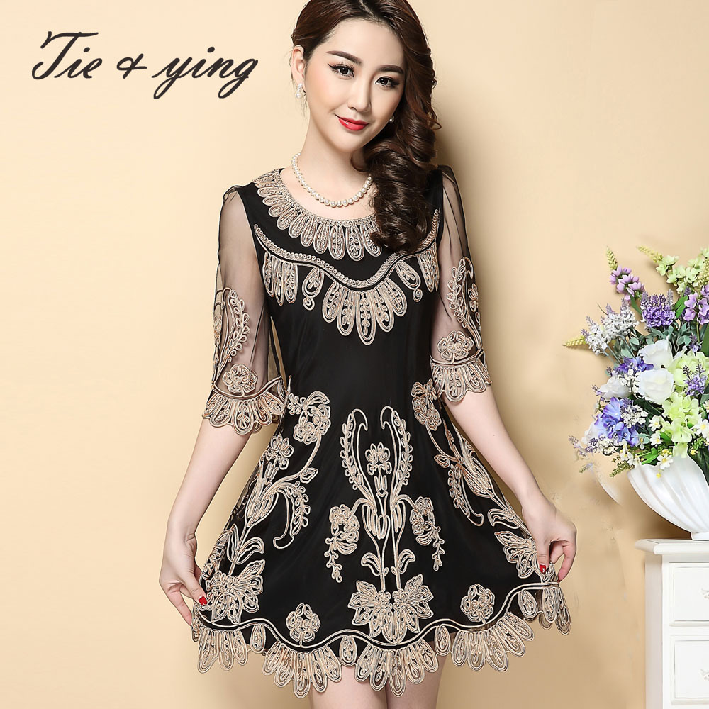 Aliexpress buy black mesh embroidery dress new