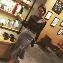 1 spring and winter ladies's empire stable  style woolen heat mid-calf slit skirt beading trumpet mermaid