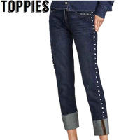 2017 Winter New Women Turn Up Cuffs Denim Trousers Pearl Beading Boyfriend Style Loose Jeans Pants