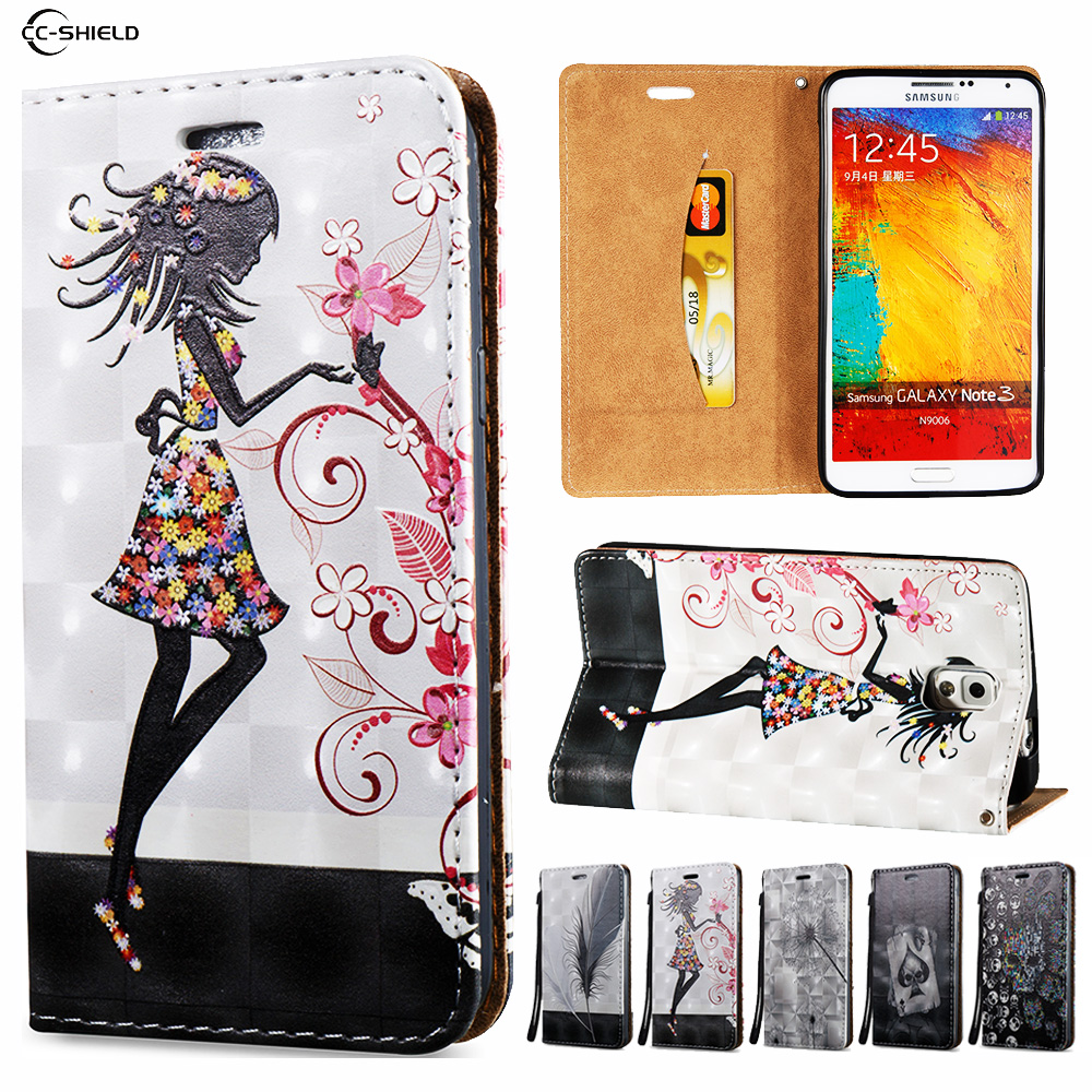 3D Flip Case for Samsung Galaxy NOTE 3 NOTE3 N900 SM-N900 N9005 SM-N9005 N900A Wallet Leather Case Stand Card Hold Phone Cover