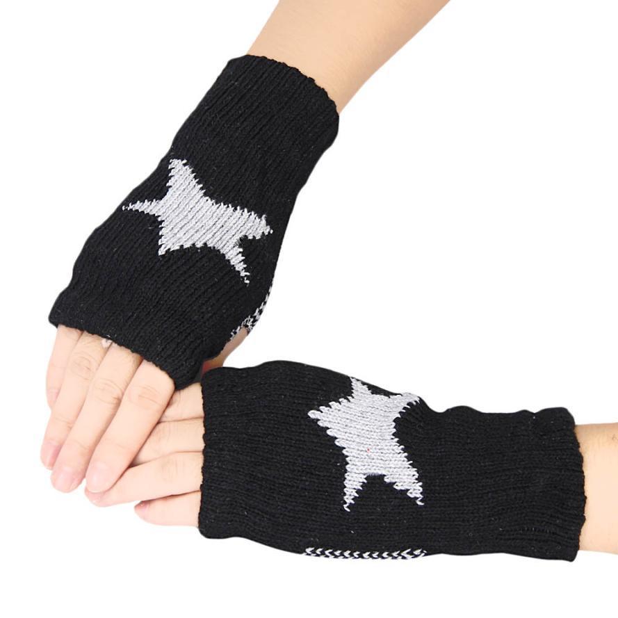 Mens gloves knitting pattern - Newly Design Winter Knitted Star Pattern Fingerless Wrist Gloves For Women Men Aug19 China