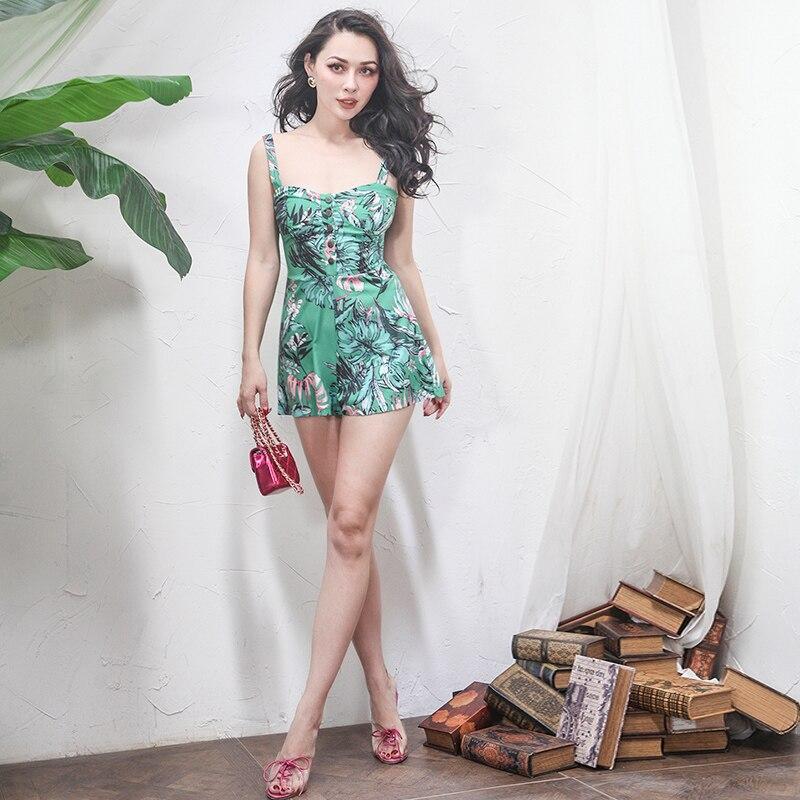2018 été conçu Floral imprimé body femmes Slim taille haute en mousseline de soie combishort respirant mince tissu combinaison courte