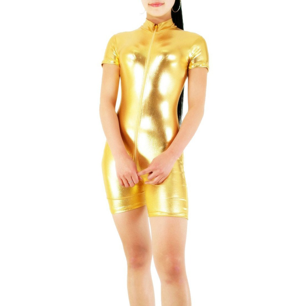 Adult Black Turtleneck Neck Women's Shiny Metallic Short Sleeve Biketard Unitard Costume Lycra Short Dancewear Fitness Biketards