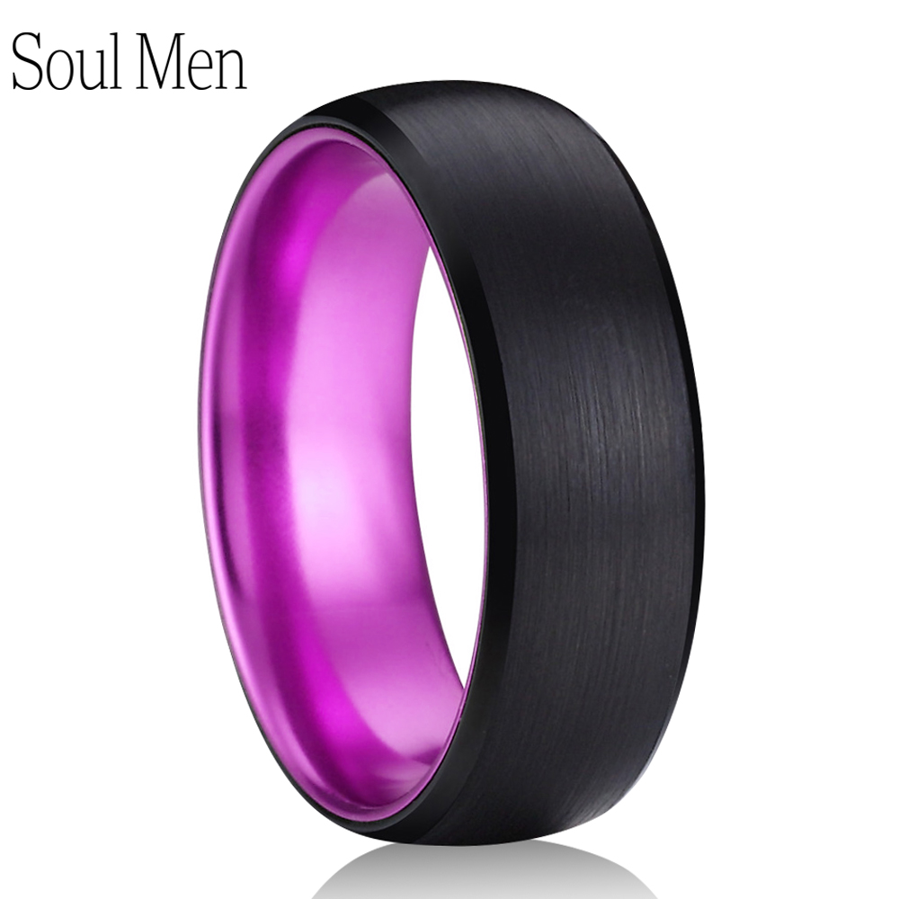 купить 8mm Black & Purple Color Brushed Dome Tungsten Carbide Ring Comfort Fit Men Women Promise Wedding Band Jewelry Size 6 to 13 по цене 1013.16 рублей