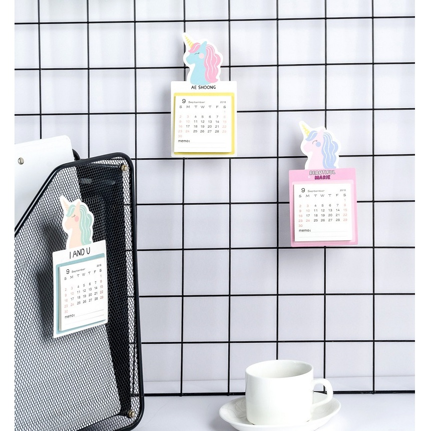 2019 Cute Unicorn Magnetic Calendar Mini Portable Calendar Daily Schedule Planner 2018.09~2019.12 Refreshing And Beneficial To The Eyes Calendar