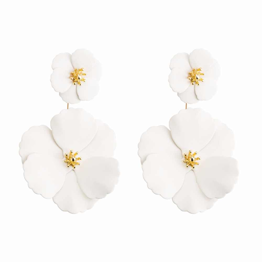 new arrive white painting flower shape daul use stud earrings korean design fashion jewelry for women