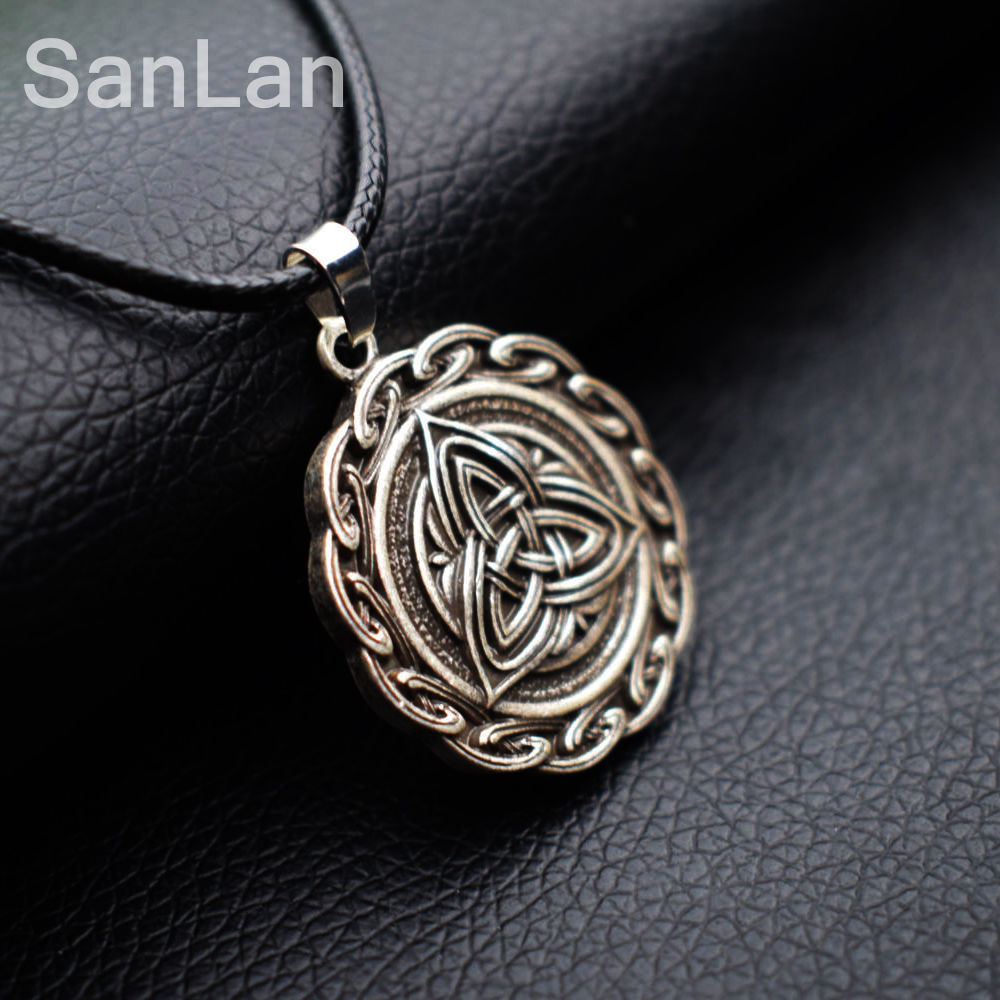 Trinity knot engraved grey stone celtic love knot symbol pendant trinity knot engraved grey stone celtic love knot symbol pendant necklace irish celtic symbols pendants necklaces sanlan jewelry in chain necklaces from biocorpaavc