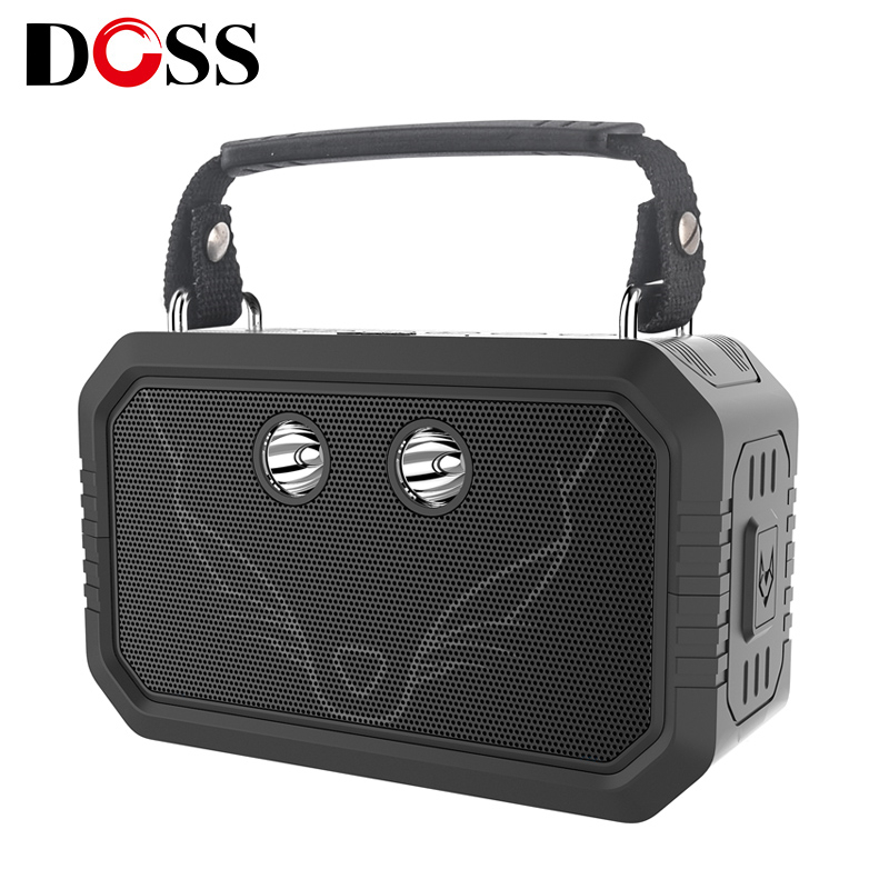 DOSS Outdoor Bluetooth V4.0 Speaker Waterproof IPX6 Portable Wireless Speakers 20W Stereo with Bass Built-in Mic and flashlight
