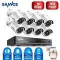 Sannce 1080n cctv hd sistema de segurança 8ch dvr 8 pcs 720 p AHD 1.0MP IR-CUT Câmera de CCTV Sistema de Vigilância de Vídeo De 8 Canais Kit