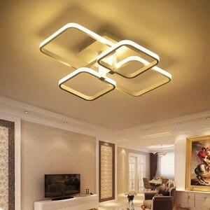 Image 4 - Plafonnier rectangulaire en acrylique et aluminium, plafond moderne à LEDs lumières blanches, idéal pour un salon ou une chambre à coucher, AC85 265V