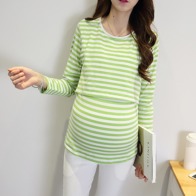 Maternity Blouses for Pregnant Women Maternity Blouses Women Breast Feeding Tops Stripe Skirts Pregnancy Clothing