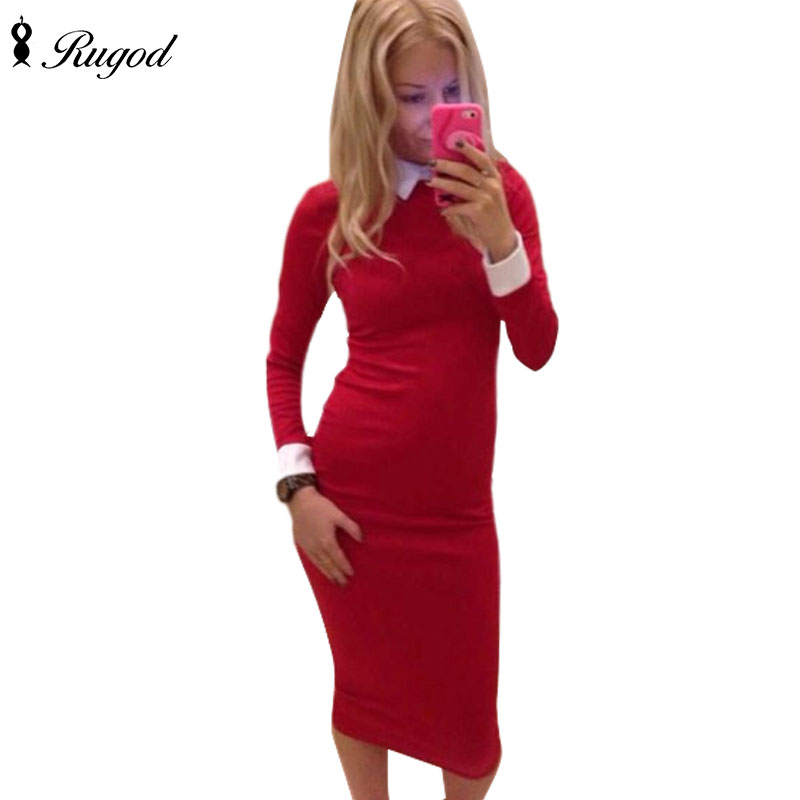 2017 New Bodycon women dress Sexy Slim dress white collar Shirtdress office casual Red office solid dress OL mid dress Vestidos