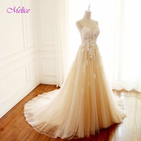 Melice Elegant Sweetheart Lace Appliques Bohemian Wedding Dresses 2018 Sexy Spaghetti Straps A Line Wedding Gown