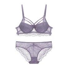 81783e13e9c02 Sexy Lace Criss-Cross Bandage Push Up Bra and Panties Set Medium Padded  Lacy Underwear