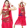 Belly Dancer Costume Indian Dance Suit Set Outfits 6pcs Bra Top Skirt Hipscarf Head Veil Bracelets