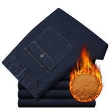 Winter Warm Met Fluwelen Dikker Elastische Taille Midden Leeftijd Mannen Jeans Losse Rechte Casual Jeans Mannelijke Effen Fleece Denim broek