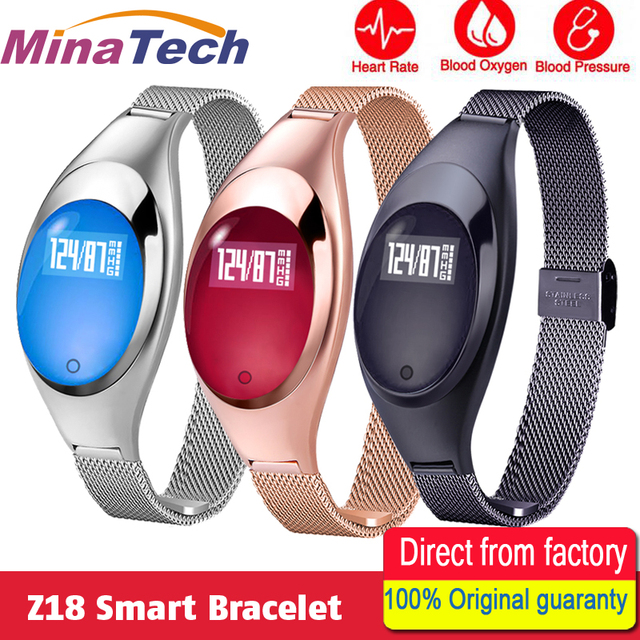 Z18 Women Smart Bracelet Band Blood Oxygen Heart Rate Call reminder Luxury Fashion Female Fitness Tracker Wristband Wrist Watch