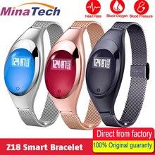 Z18 Для женщин Смарт Браслет крови кислородом сердечной напоминание Роскошные модные женские Фитнес трекер Браслет наручные часы