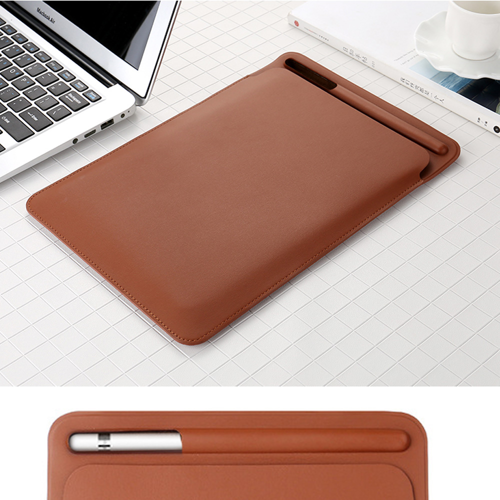 Premium PU Imitation leather Sleeve Case for iPad Pro 12.9 2017 Pouch Bag Cover with Pencil Slot for iPad Pro 12.9 2015