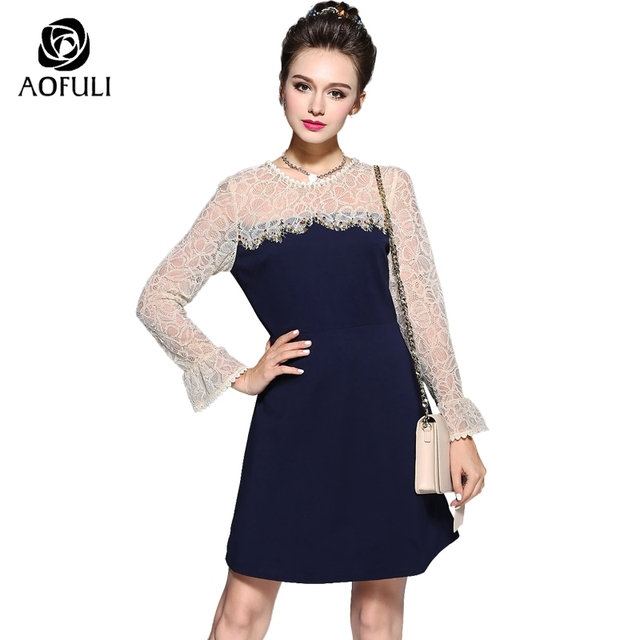 S- 5XL Women Rhinestone Pearl Beaded Lace Up Slim Dresses High-end Floral  Lace Flare Long Sleeve Knee-length Big Size Dress 5732