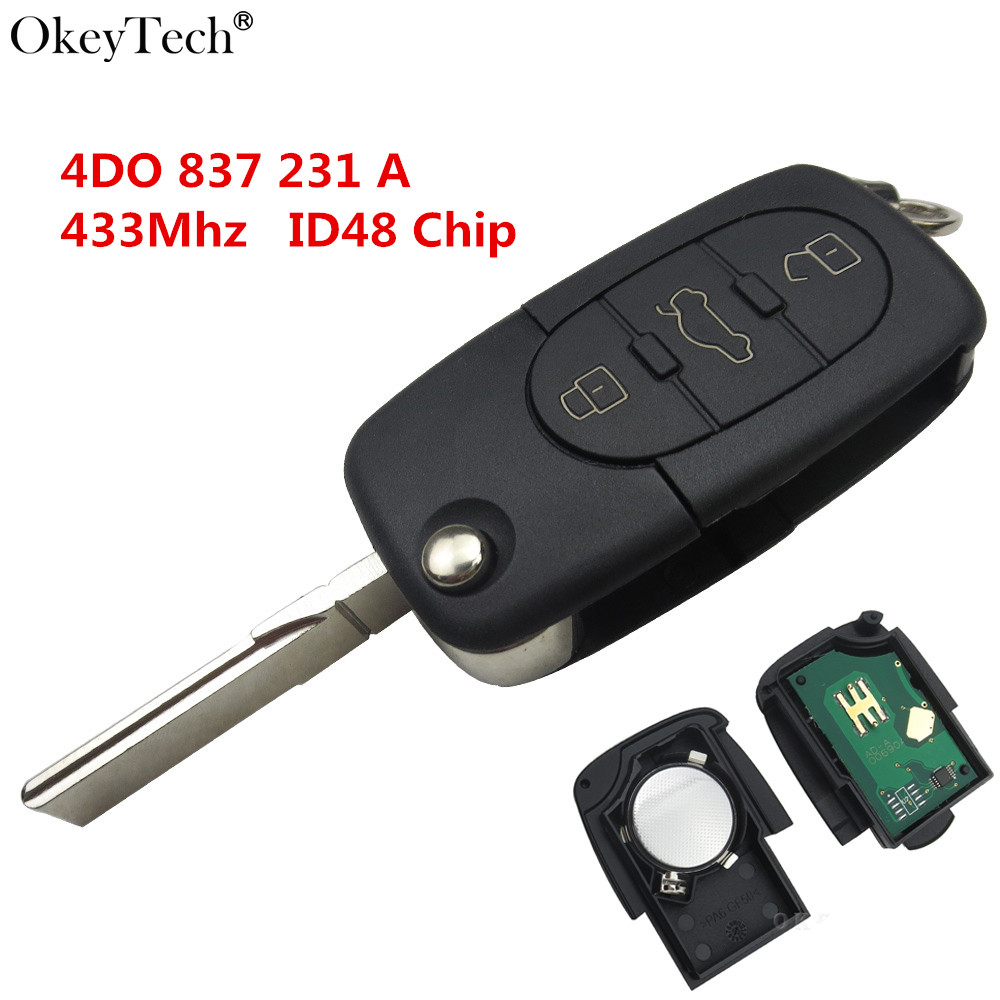 Okeytech Für Audi A3 A4 A6 A8 TT RS4 3 Tasten Fernbedienung Auto taste Ein Modell 4DO 837 231 Eine 433 Mhz HU66 Uncut Klinge Mit ID48 Chip
