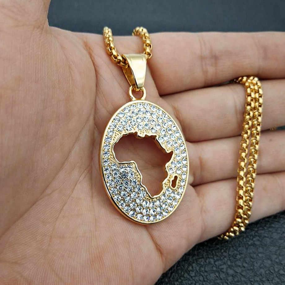 Hip Hop Iced Out Bling mapa afryki naszyjniki wisiorki złoty kolor łańcuch ze stali nierdzewnej dla kobiet etiopii biżuteria afryka XL1299