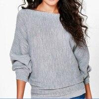 Женские Повседневные свитера осень зима свитер Свободный Длинный рукав летучая мышь твердые пуловеры женский тонкий свитер джемпер леди