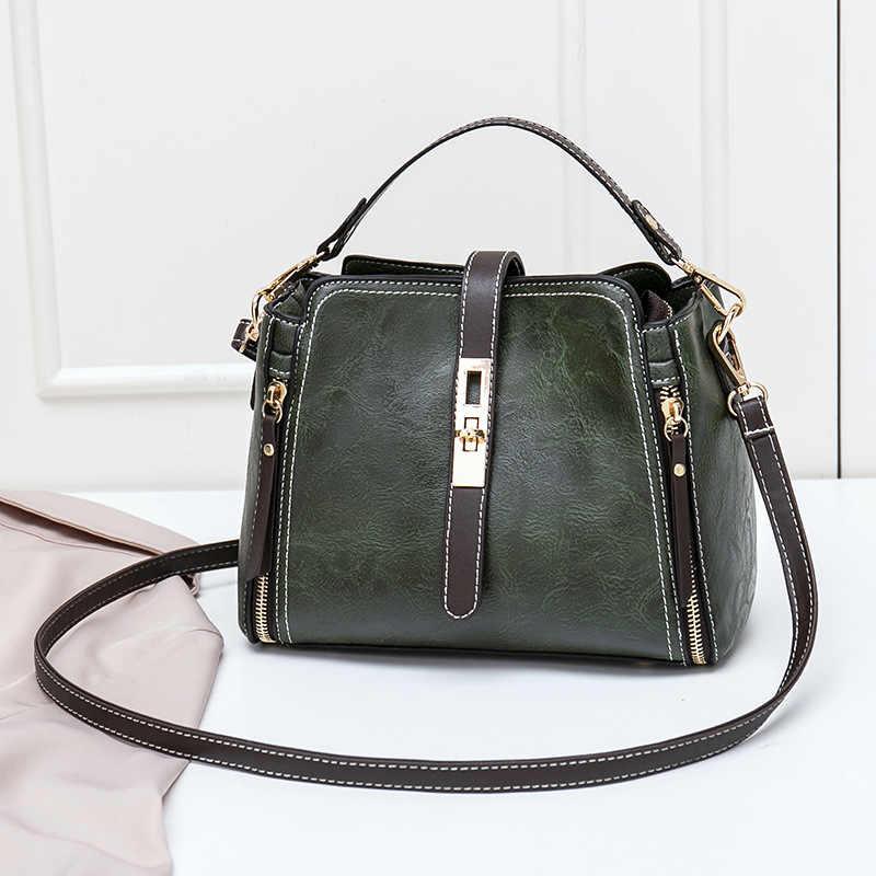 Leder Kleine Mini Eimer Tasche Frauen Messenger Taschen 2018 Mode Designer Umhängetaschen Grün Schulter Taschen Weiblichen Koreanischen C810