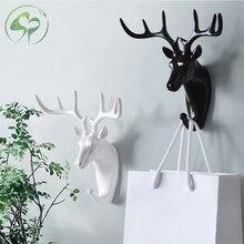 Duvar kanca tuşları raf geyik hayvan kafası boynuzları ev asılı elbise şapka eşarp kanca ev oturma odası dekor