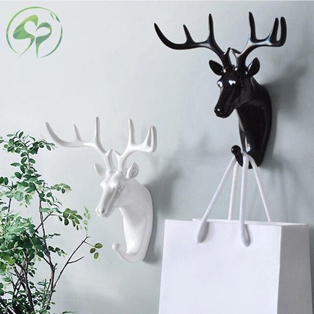 Wand Haken Schlüssel Rack Deer Tier Kopf Geweih Home Hängende Kleidung Hut Schal Haken Hause Wohnzimmer Dekor