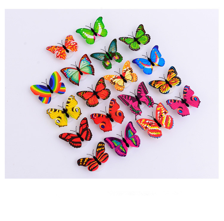 1PC Flashing Lamps Novely Home Decoration Artificial Wall Nightlights Colorful Butterfly For Wedding Baby Room LED Night  LF 156