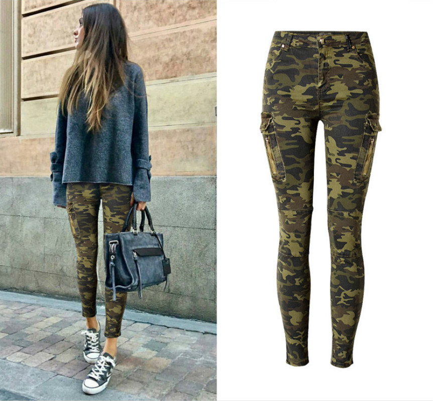 Camouflage Pockets Skinny Jeans Women High Quality Cotton Vintage Push Up Pencil Pants Femme Fashion Pilot Leisure Denim Mujer 2017 torn hole high waist thin women jeans high stretch cotton sexy black skinny denim femme vintage push up skinny jeans women