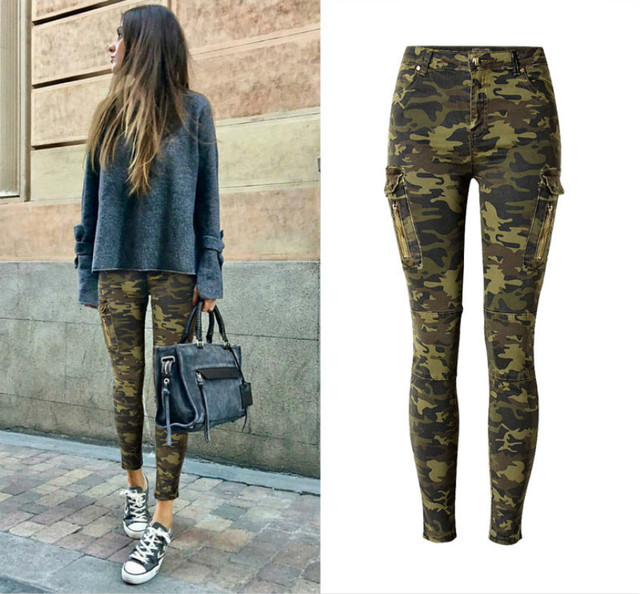 467a42b6d14752 Camouflage Pockets Skinny Jeans Women High Quality Cotton Vintage Push Up  Pencil Pants Femme Fashion Pilot Leisure Denim Mujer