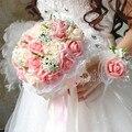 2017 dama de Honor Nupcial de La Boda Bouquet Barato Nueva Llegada de Color Rosa y Marfil Hecho A Mano Rosa Artificial Flores de La Boda Ramos de Novia