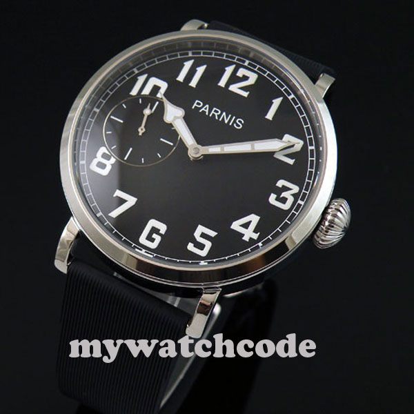 46mm parnis luminous black dial 6497 hand winding rubber strap mens watch P274 цена и фото